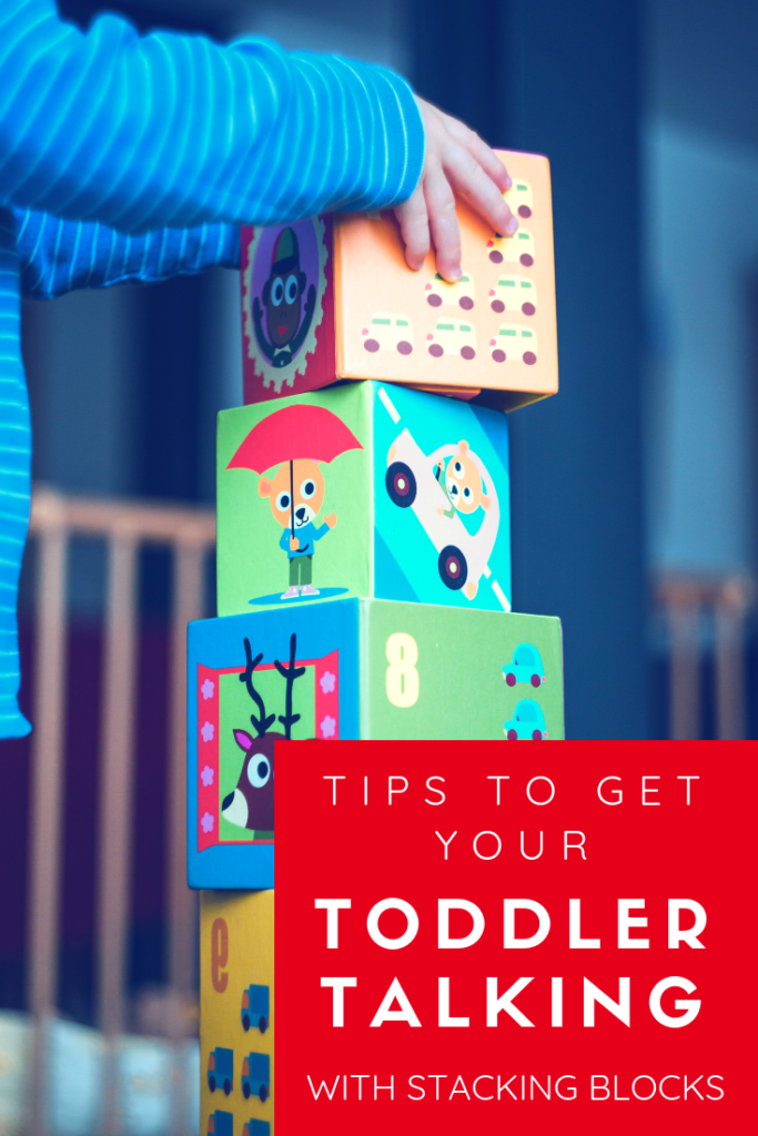 Easy to follow tips for parents to get toddlers talking with simple toys like stacking blocks. Great for child language development. #speakplaylove #speechtherapyactivities #toddleractivities #languagedevelopment #latetalker #speechtherapy #speechtherapyathome #earlyintervention Website has easy tips for parents for speech therapy at home