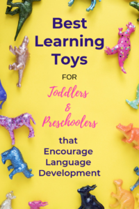 Best learning toys for preschoolers and toddlers with tips for encouraging language development! #speakplaylove #toddlertoys #preschooltoys #giftguide