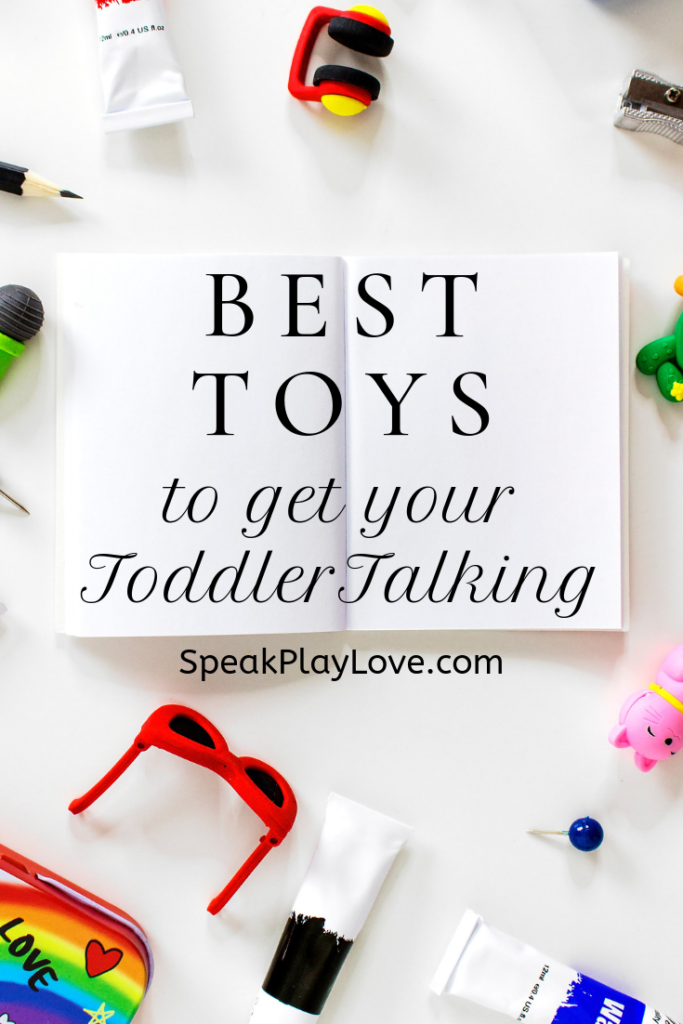 Recommended toys for toddlers and preschoolers for language development. Includes educational toys for interactive play. #speakplaylove #toddlertoys #giftguide #speechtherapy
