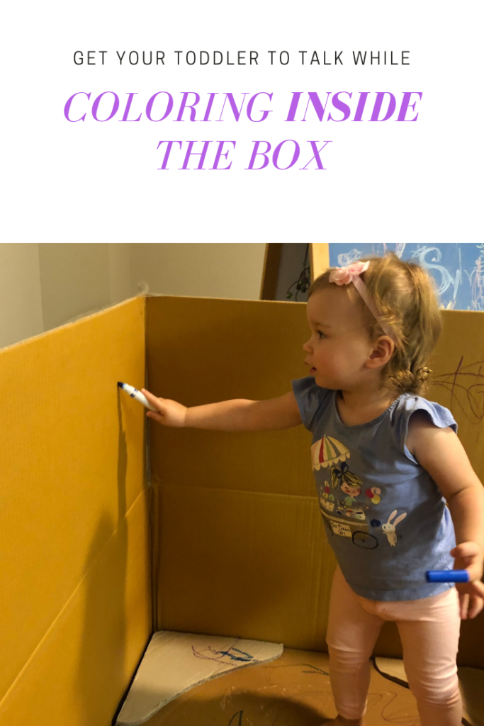 Coloring inside a box - they are happy and contained! How to get your toddler to talk using coloring and sticker activities. Easy tips for parents for speech therapy at home #latetalker #speechtherapy #speechtherapyathome #languagedevelopment #earlyintervention