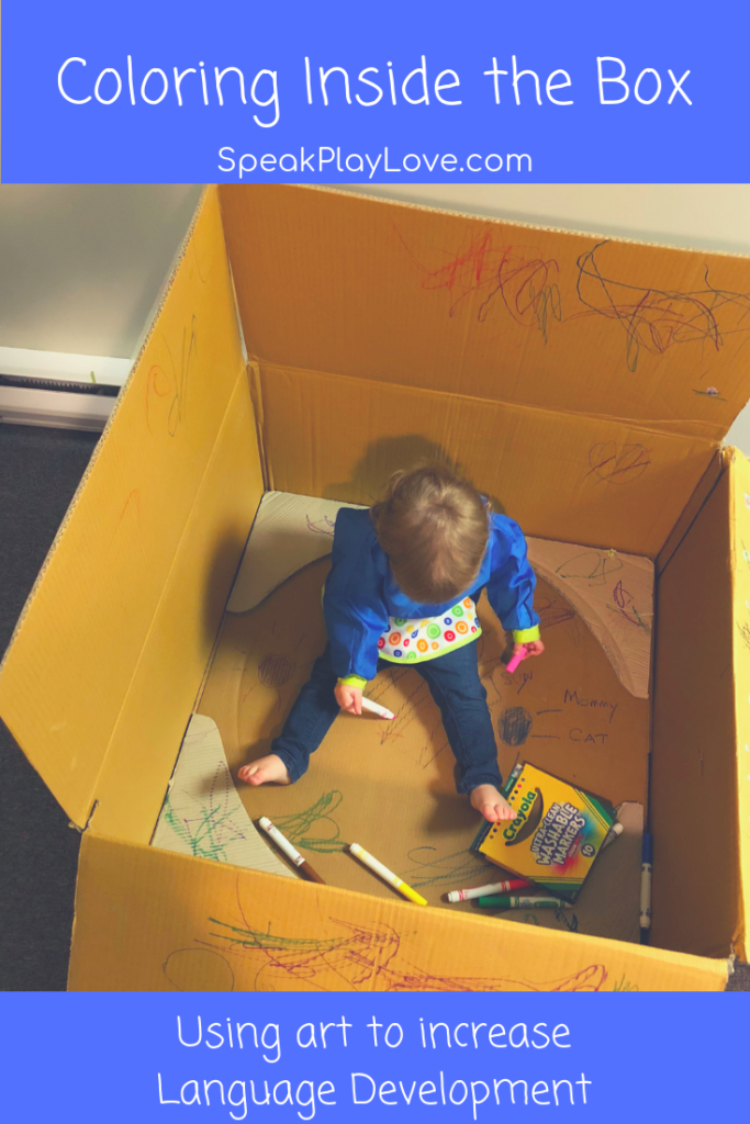 Throw some crayons in a box with your toddler = instant activity. Plus, learn how to get your toddler to talk using coloring and sticker activities. #speakplaylove #languagedevelopment #earlylearning #toddleractivities #speechtherapy #speechtherapyactivities #artsandcrafts