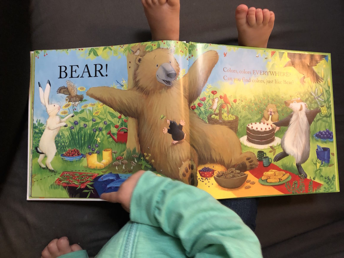 toddler pointing in book to encourage reading in toddlers
