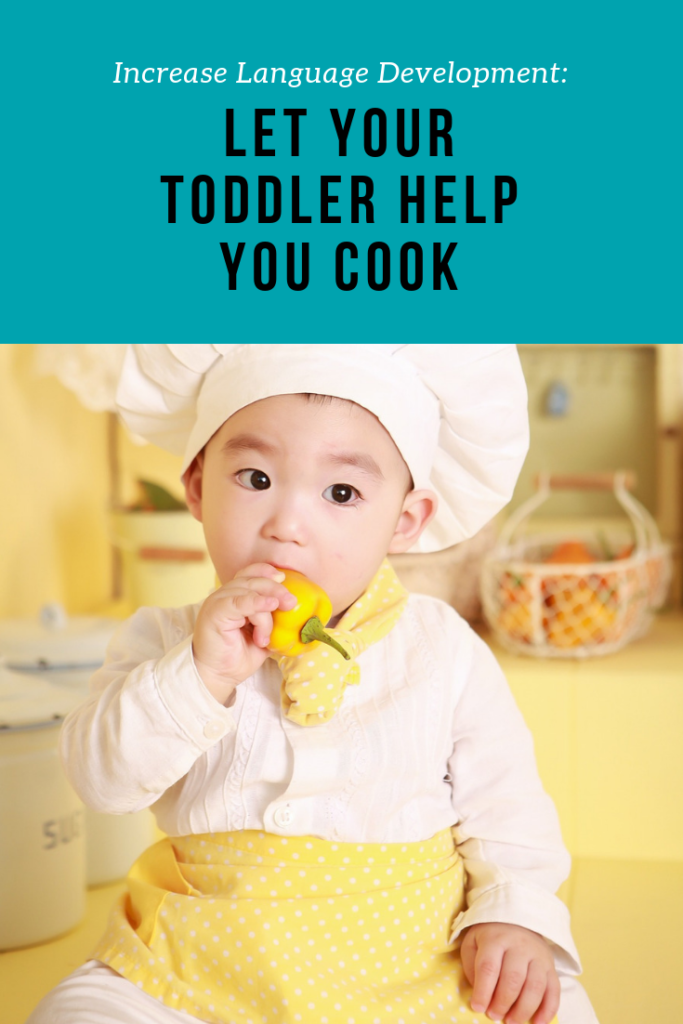 How to let your toddler help you in the kitchen. Easy tips on helping your child learn to talk through simple cooking activities. #cookingwithkids #speakplaylove #speechtherapy #speechtherapyathome #languagedevelopment #earlyintervention