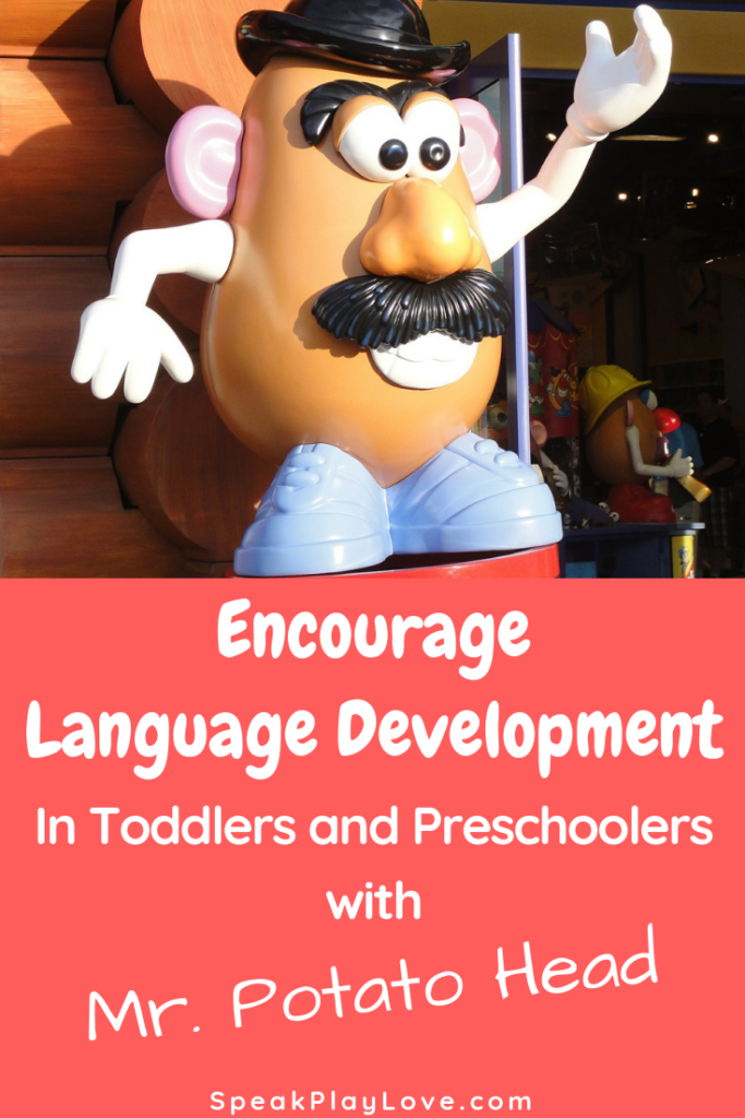 How to increase language development in toddlers and preschoolers with simple toys. Includes tips for speech therapy at home. #speakplaylove #speechtherapy #earlylearning #toddleractivities #preschoolactivities #autism