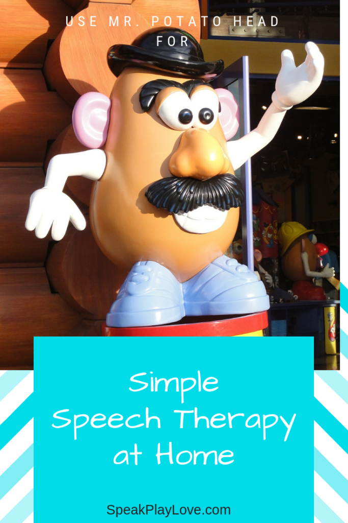 How to use this classic toy for speech therapy at home. Easy tips for parents to increase language development and get a toddler talking! #speakplaylove #speechtherapy #earlylearning #toddleractivities #autism #preschoolactivities #languagedevelopment