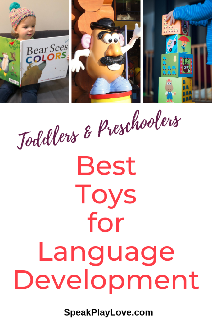 toddler toys for language development pin image