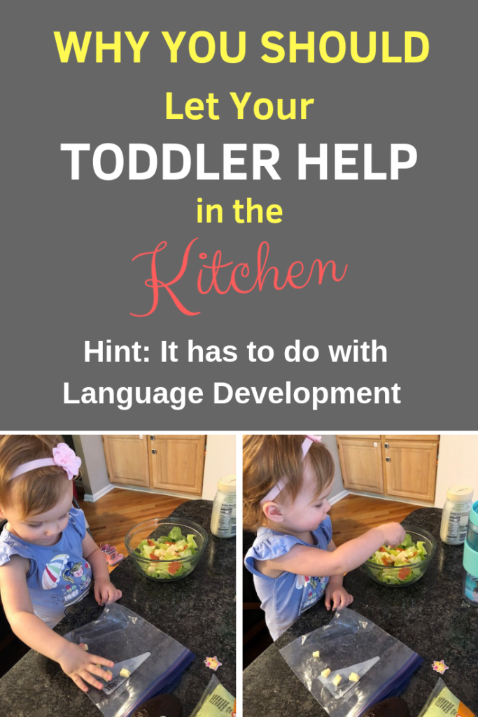Cooking with your kids and toddlers is a great way to encourage language development and make traditions. Get your toddler talking with these tips! #speakplaylove #earlylearning #cookingwithkids #speechtherapy #speechtherapyactivities