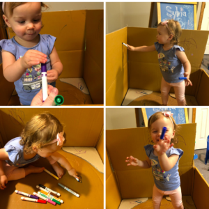 Images of toddler coloring inside a box