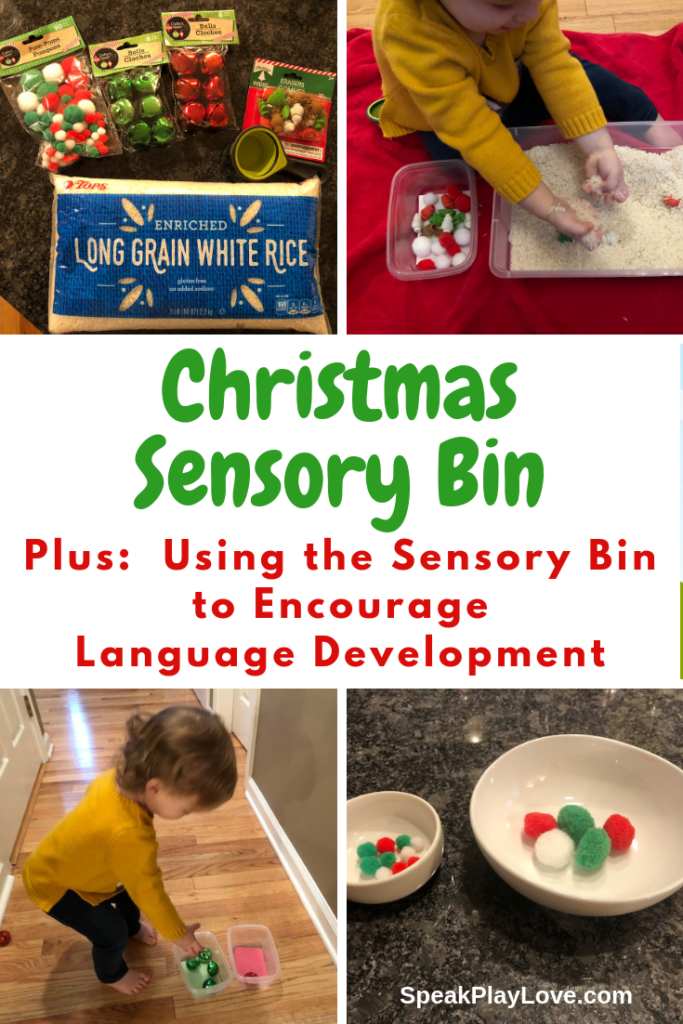 Christmas Sensory Bin idea plus tips for encouraging language development in toddlers and preschoolers. #speakplaylove #earlylearning #christmassensorybin #sensoryactivities #sensorybin #toddleractivities #preschoolactivities #speechtherapy