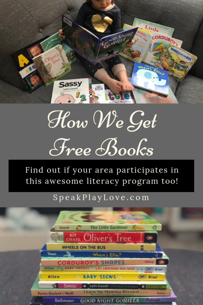 Find out how we get free children's books sent to our house through a great literacy program. It's available in select areas - find out if your area participates! #speakplaylove #toddlerbooks #preschoolbooks #earlyliteracy #kidlit #picturebooks #earlylearning #speechtherapy