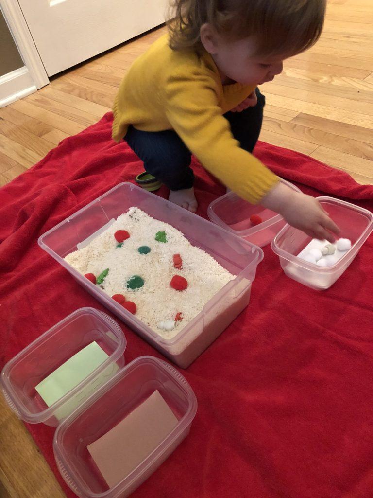 Christmas sensory bin sorting