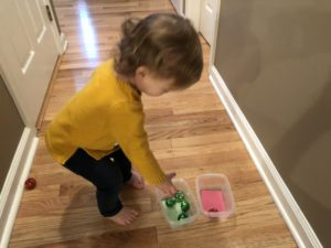 Toddler Sorting Jingle Bells by color