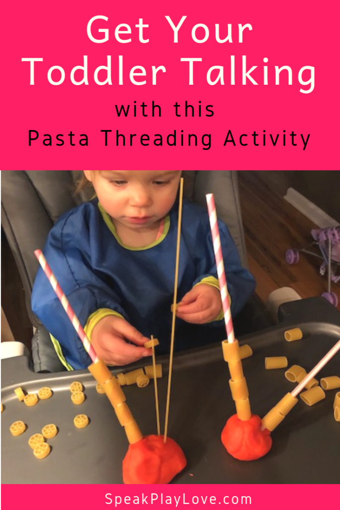 Fine motor and language development activity with pasta threading. A great activity for toddlers and preschoolers. #speakplaylove #languagedevelopment #speachtherapy #finemotor #toddleractivity #preschoolactivity #earlylearning