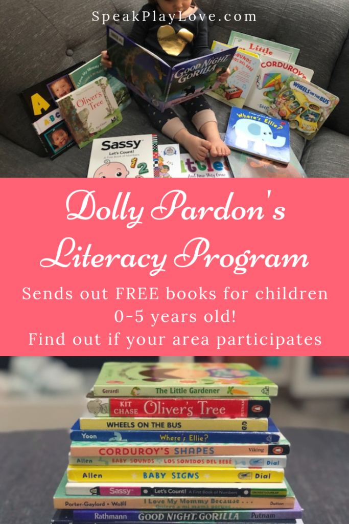 Early literacy program that sends free books. Find out if your area particpates. Great way to promote reading in babies and children. #speakplaylove #kidlit #toddlerbooks #preschoolbooks #babybooks #boardbooks #languagedevelopment