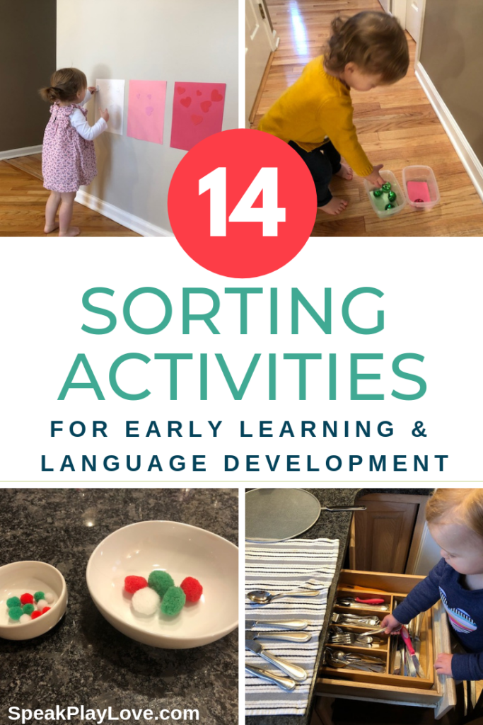 Sorting and classifying activities for preschoolers and toddlers. Includes color sorting, sorting with chores, and sorting by size. #speakplaylove #earlychildhood #languagedevelopment #toddleractivities
