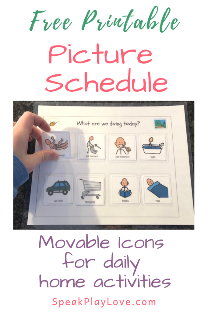 Using a picture schedule of daily home activities to reduce tantrums. Visual schedule can be used for special needs as well #speakplaylove #toddlerschedule #freeprintables #autism #pecs