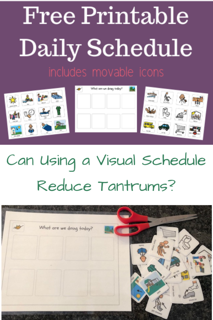 image of free printable visual schedule with icons