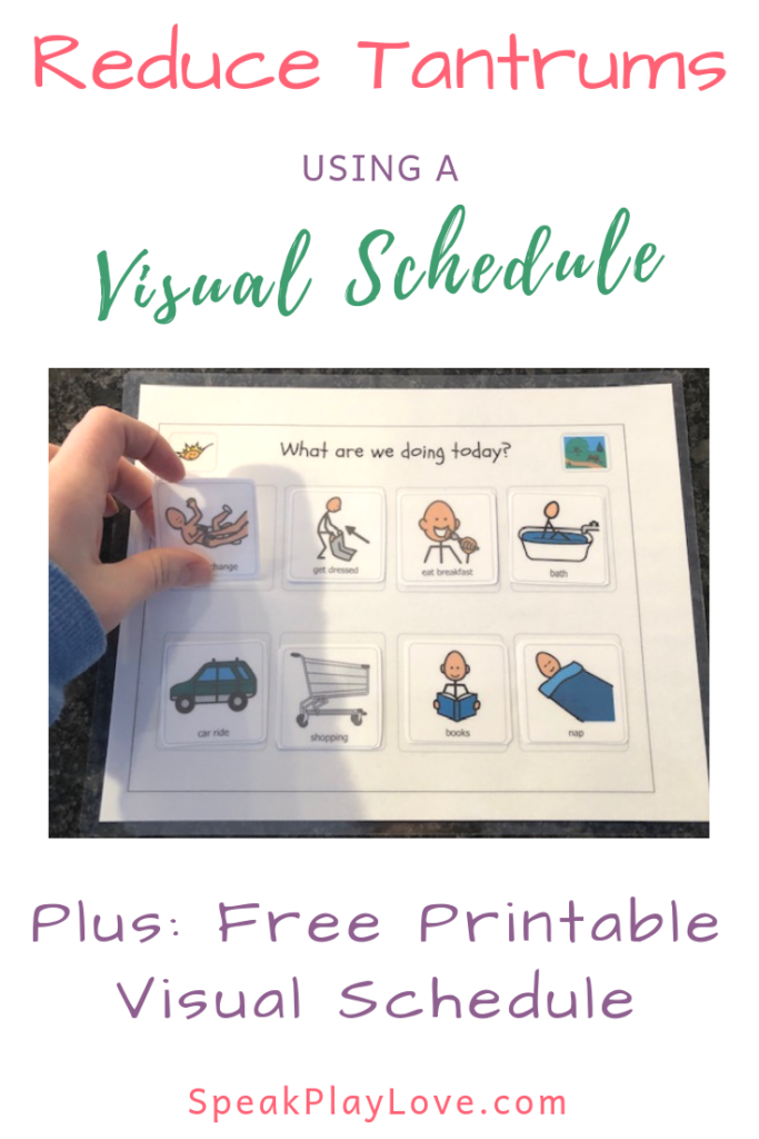 image of visual schedule for toddler with movable icons
