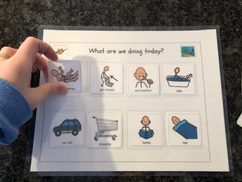 free toddler visual schedule printable with moving icons