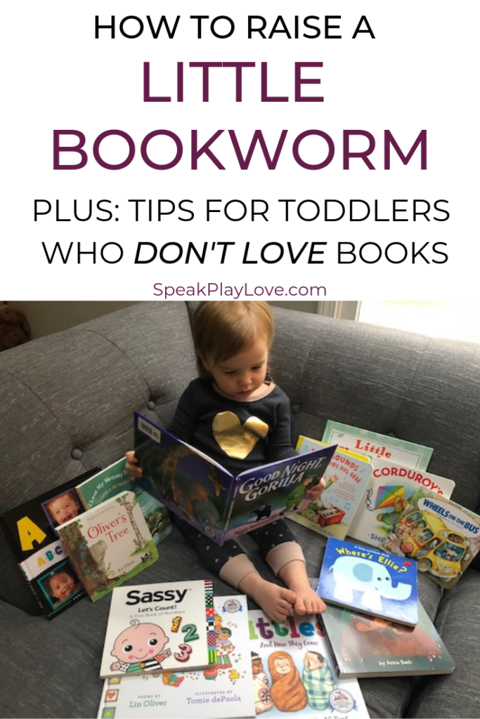 Tips on how to raise a reader by reading to baby early. Plus, recommendations for books for toddlers and books for baby! #speakplaylove #babybooks #toddlerbooks #kidlit #toddleractivities