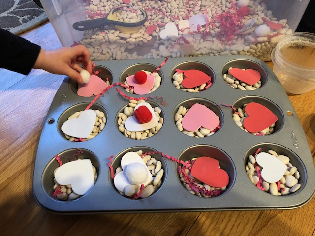 Valentine Sensory Bin Muffin Tin Activity