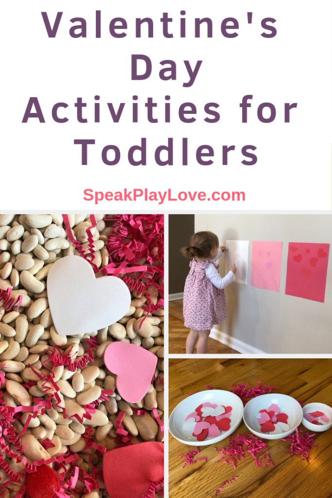 Fun Valentine's Day activities for toddlers including sensory play and early learning activities! #speakplaylove #toddleractivities #valentinesdayactivities #sensoryactivities