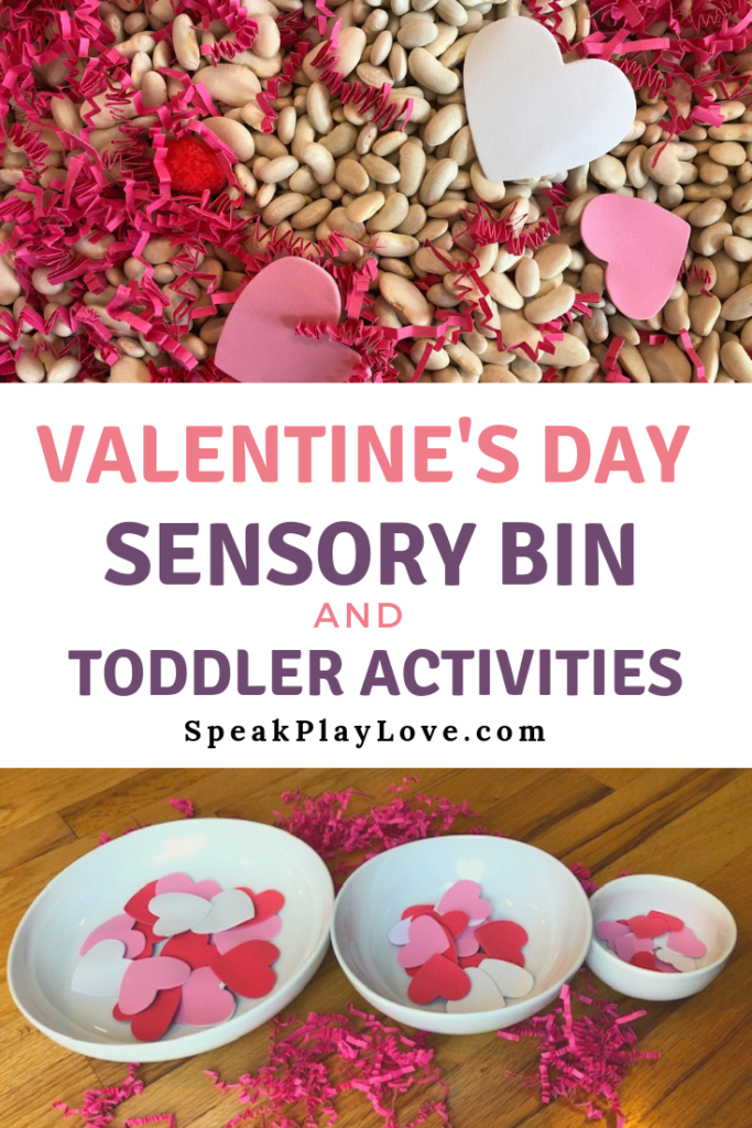 Here are some Valentine's Day activities for toddlers including a Valentine's sensory bin and sorting activities. #speakplaylove #sensorybin #sensoryactivities #toddleractivities
