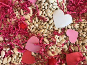 Valentine's Day sensory bin close up