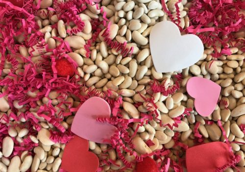 Valentine's Day sensory bin close up