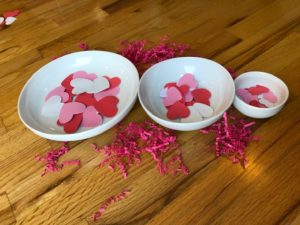 hearts sorting in bowls long