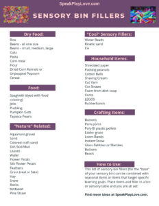 Free printable list of sensory bin fillers