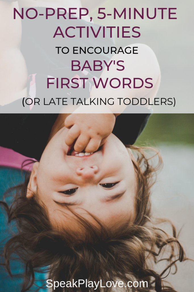 Get tips on the first words to teach baby and how to get baby to talk. These gross motor and sensory activities are perfect as toddler late talker activities too! #speakplaylove #speechtherapy #toddleractivities #babyactivities #grossmotor #sensoryactivities