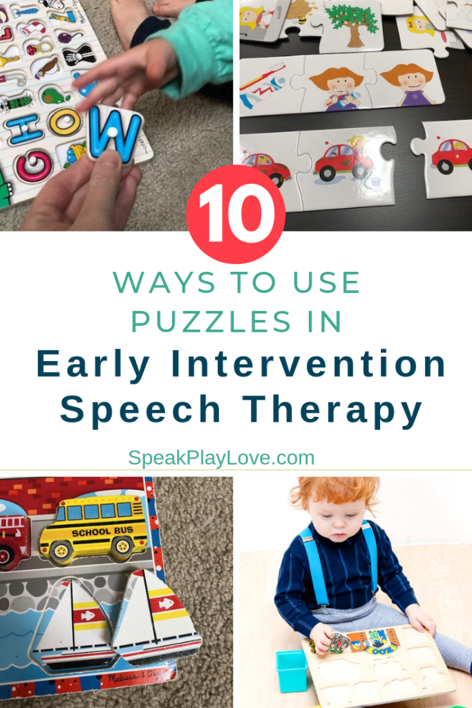 Puzzles for early intervention speech therapy