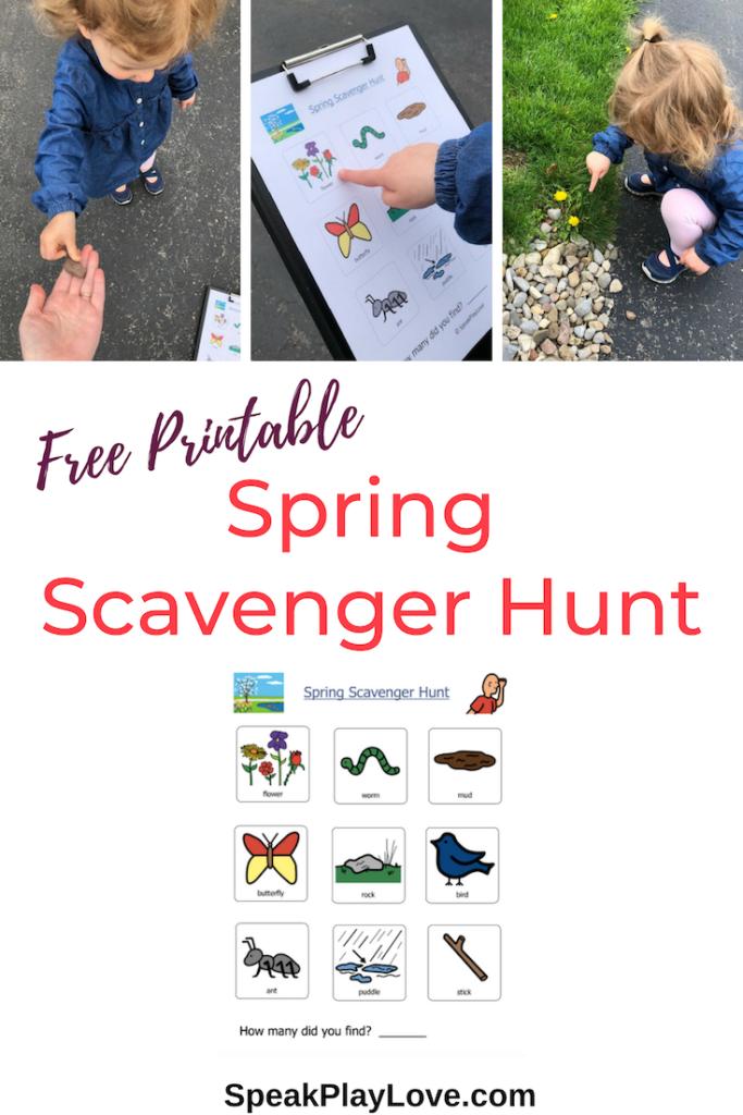 image of Spring Scavenger Hunt free printable Pin