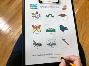 scavenger hunt items on free worksheet