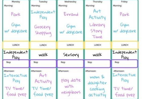 toddler weekly schedule example