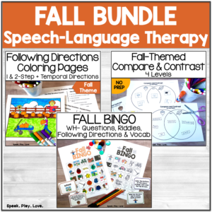 fall speech and language activities cover