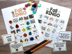 fall bingo for speech therapy